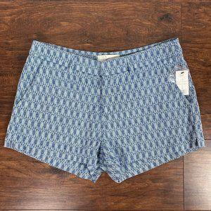 JOIE Flat Front Argyle Mid-Rise Chino Mini Shorts